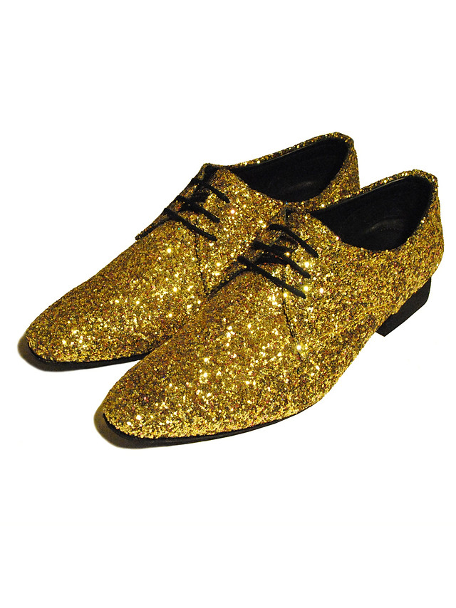 Gold Glitter formal shoes