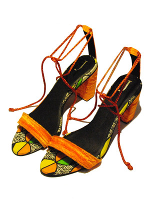 African Vlisco strappy with crushed velvet heels