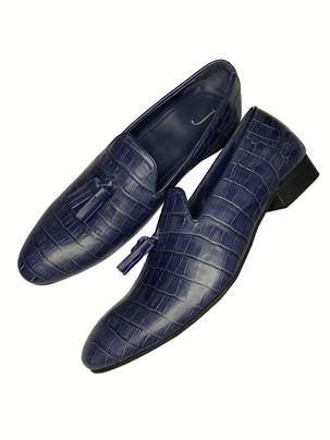 Faux Crocodile embossed leather loafers