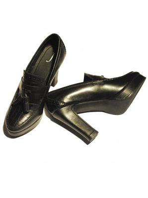 Embossed Crocodile leather Heels with Tassles. 4 Inch Heel