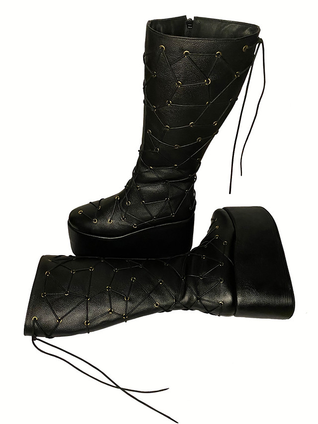 Knee High Platform Boots with eyelet and lace detailing