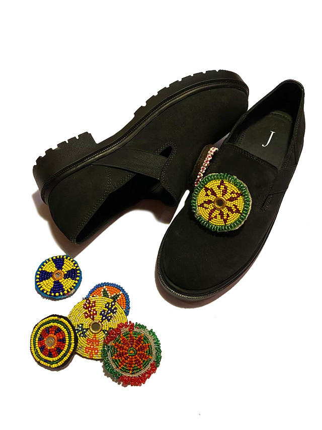 Suede Shoes with handmade detachable patches