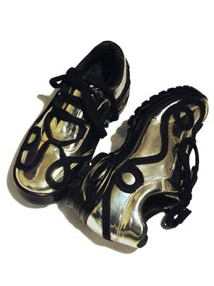 Swirly Lace Metallic Sneakers