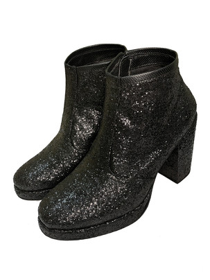 Black glitter boots with almost 4.5 inch high block heel