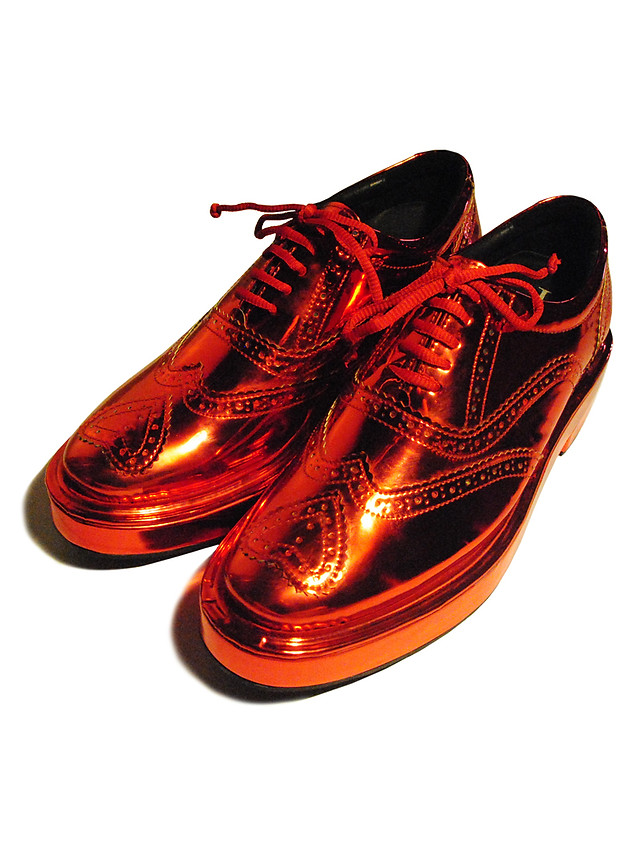 Metallic Tomato Red extra chunky Brogues