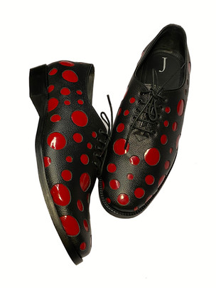 Leather Shoes with Patent leather Polka Dots and leather sole