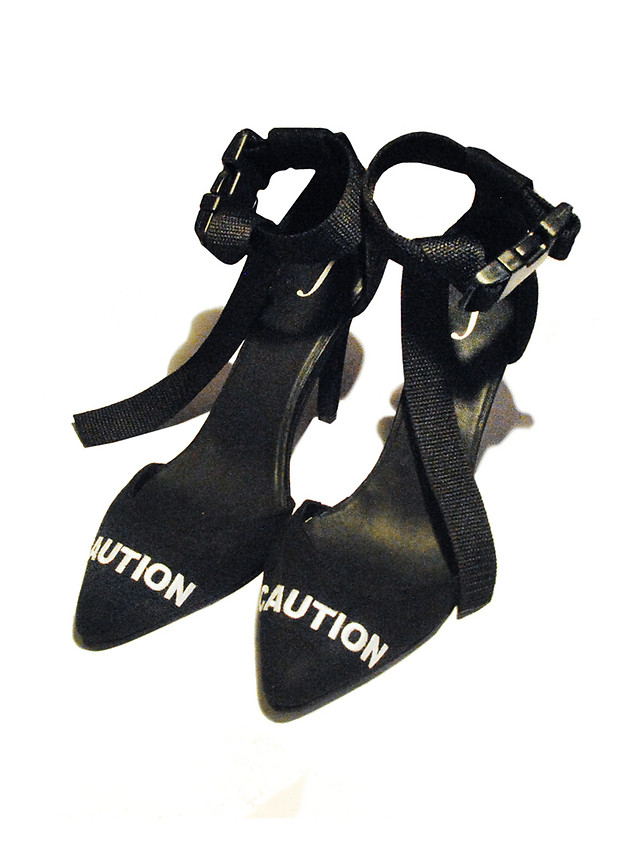 Caution Embroidered Heels with a Plastic Buckle. 4 Inch Pencil Heel