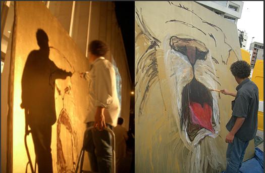 Peinture du lion In Projet « Le lion se meurt » 2003-2007