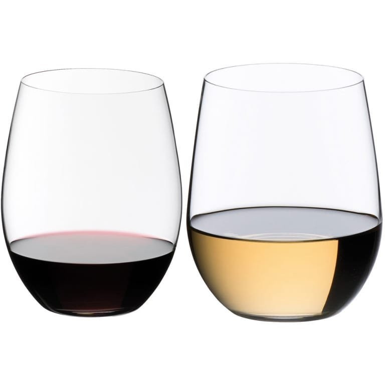 Riedel stemless wine glasses.