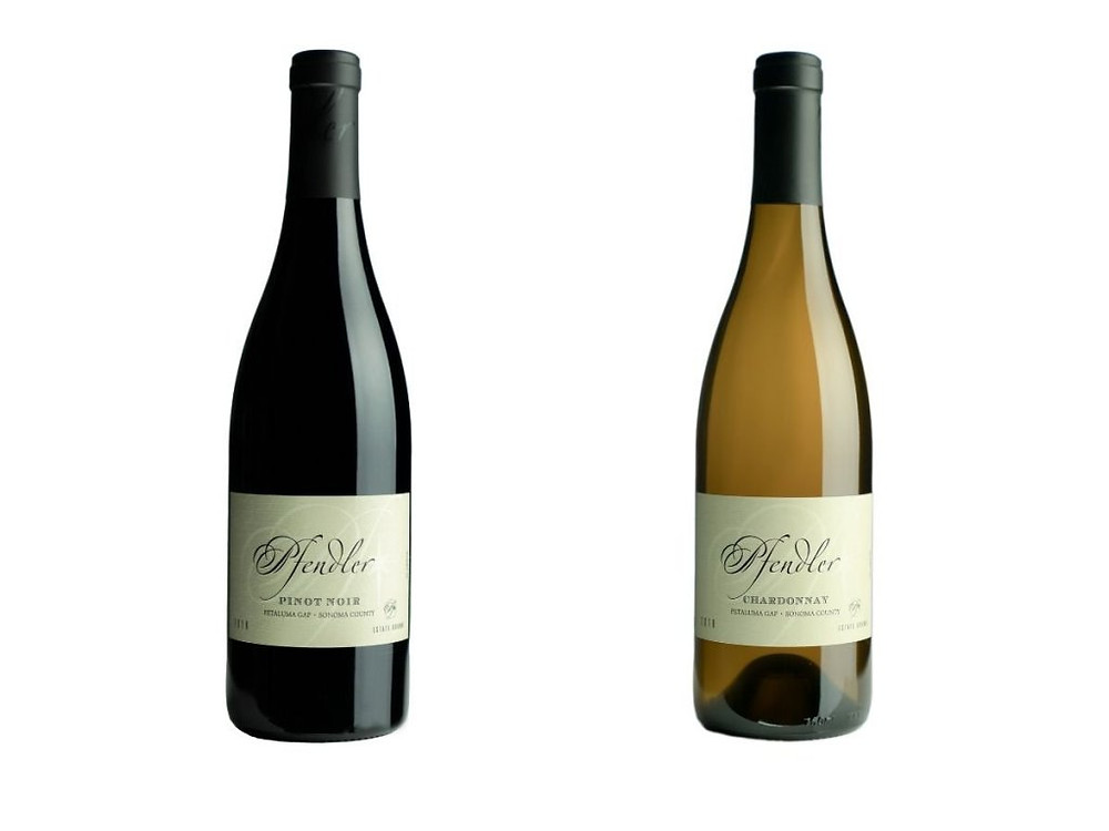Bottles of Pfendler Pinot Noir and Chardonnay.