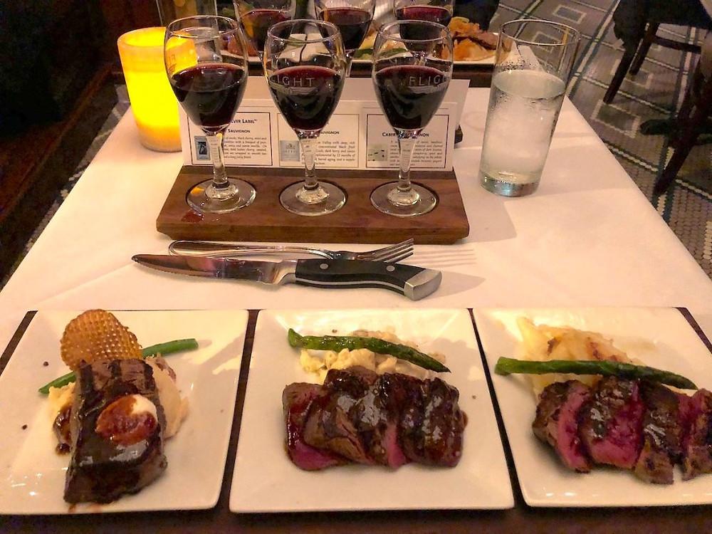 Flight of wine & food. Steak flight with Cabernet Sauvignon flight.