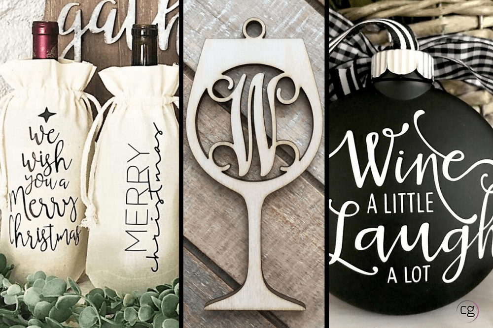 Image showing Holiday wine gifts and hostess gifts of wine bags with holiday sayings, personalized laser cut wood ornament, and black and white ornament with wine saying.