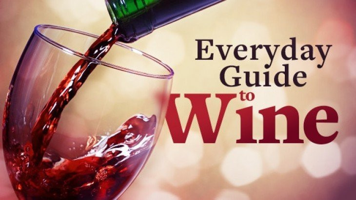 Red wine being poured into glass with text: Everyday Guide to Wine.