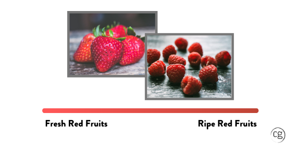 Picture of Strawberries and Raspberries with a color bar depicting the ripeness range from Fresh Red Fruits to Ripe Red Fruits.