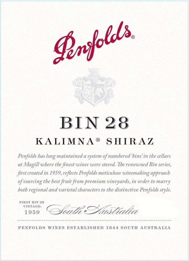 Penfolds Bin 28 Shiraz wine label.