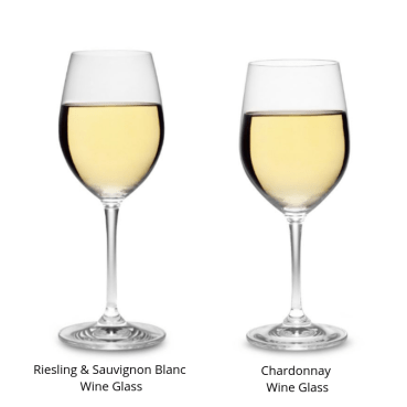 2 white wine glasses. The wine glass for Riesling and Sauvignon Blanc is taller with a narrower bowl than the Chardonnay wine glass.