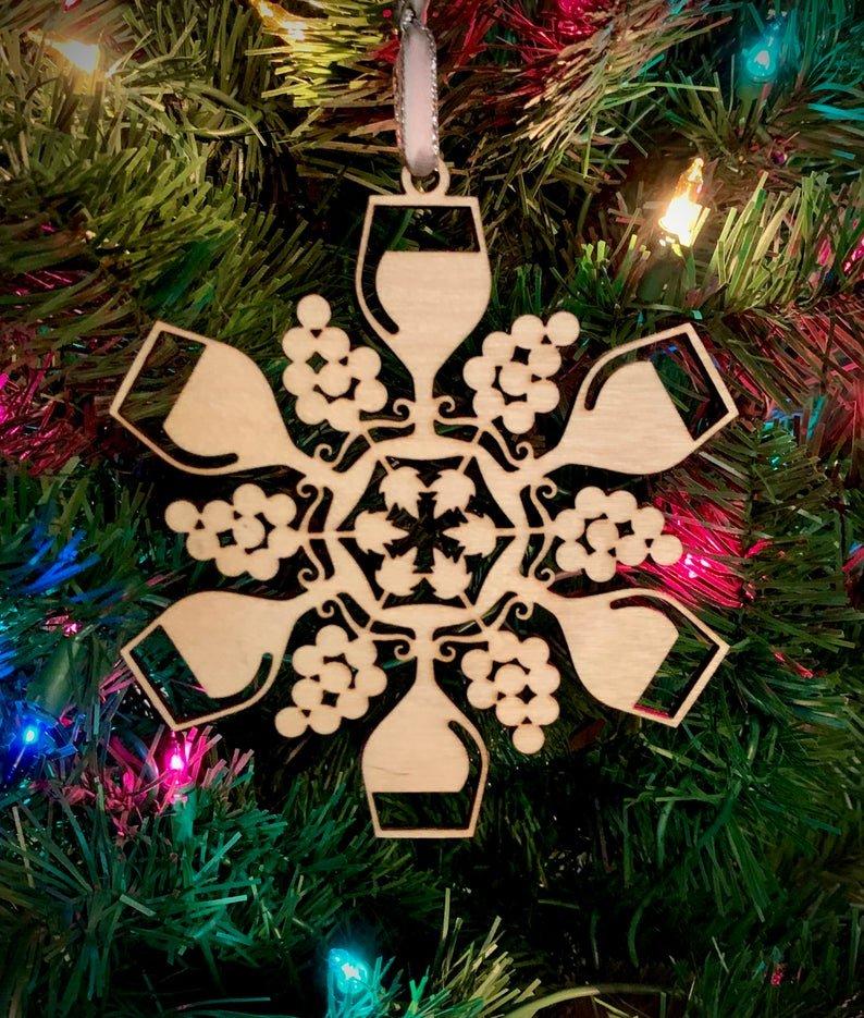 Laser Cut Wood Snowflake