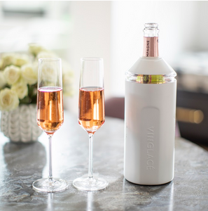 Vinglace wine chiller with Champagne bottle in it.