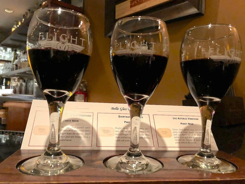 Flight of Belle Glos Pinot Noir with tasting notes.