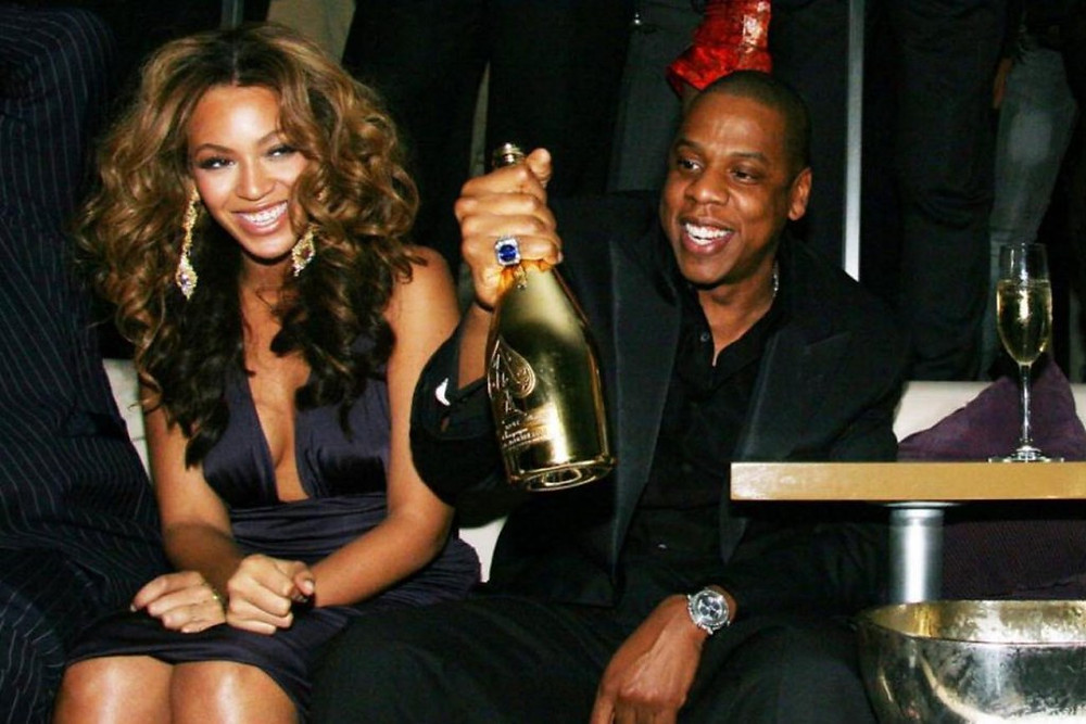 Beyonce and Jay Z with Ace of Spades Champagne.