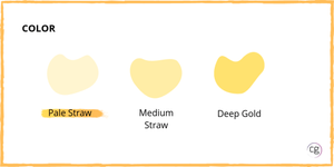 White wine color ranges from pale straw to medium straw to deep gold. Riesling is a pale straw color.