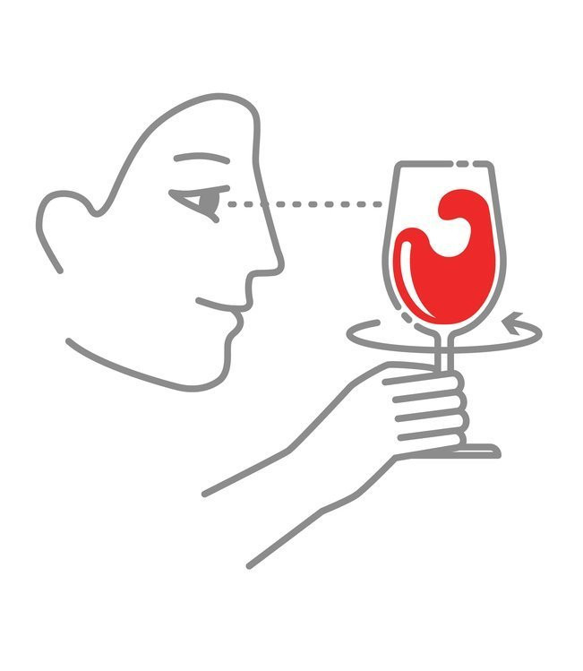 Illustration of third step for tasting wine which is to swirl wine in a wine glass.