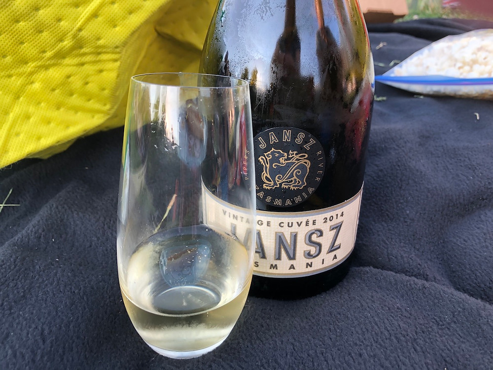 A bottle and glass of Jansz sparkling wine from Tasmania