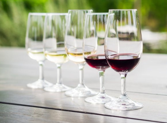 6 wine glasses lined up for wine tasting.