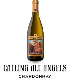 Bottle of Calling All Angels Chardonnay.