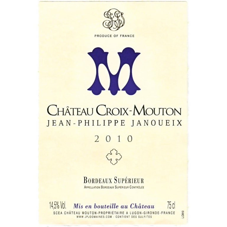example of a Bordeaux Superior AOC wine label.