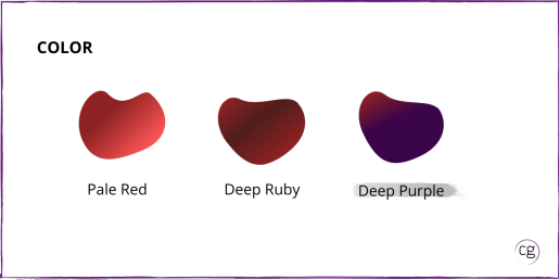 Image shows the color range for red wine is Pale Red, Deep Rudy, and Deep Purple. Syrah/Shiraz is identified as Deep Purple in color.