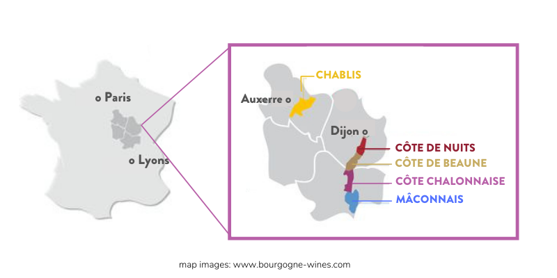 Map of France with a close up of the Burgundy region.