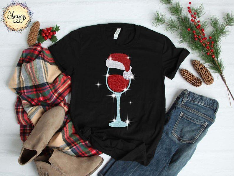 Santa Wine Glass T-shirt