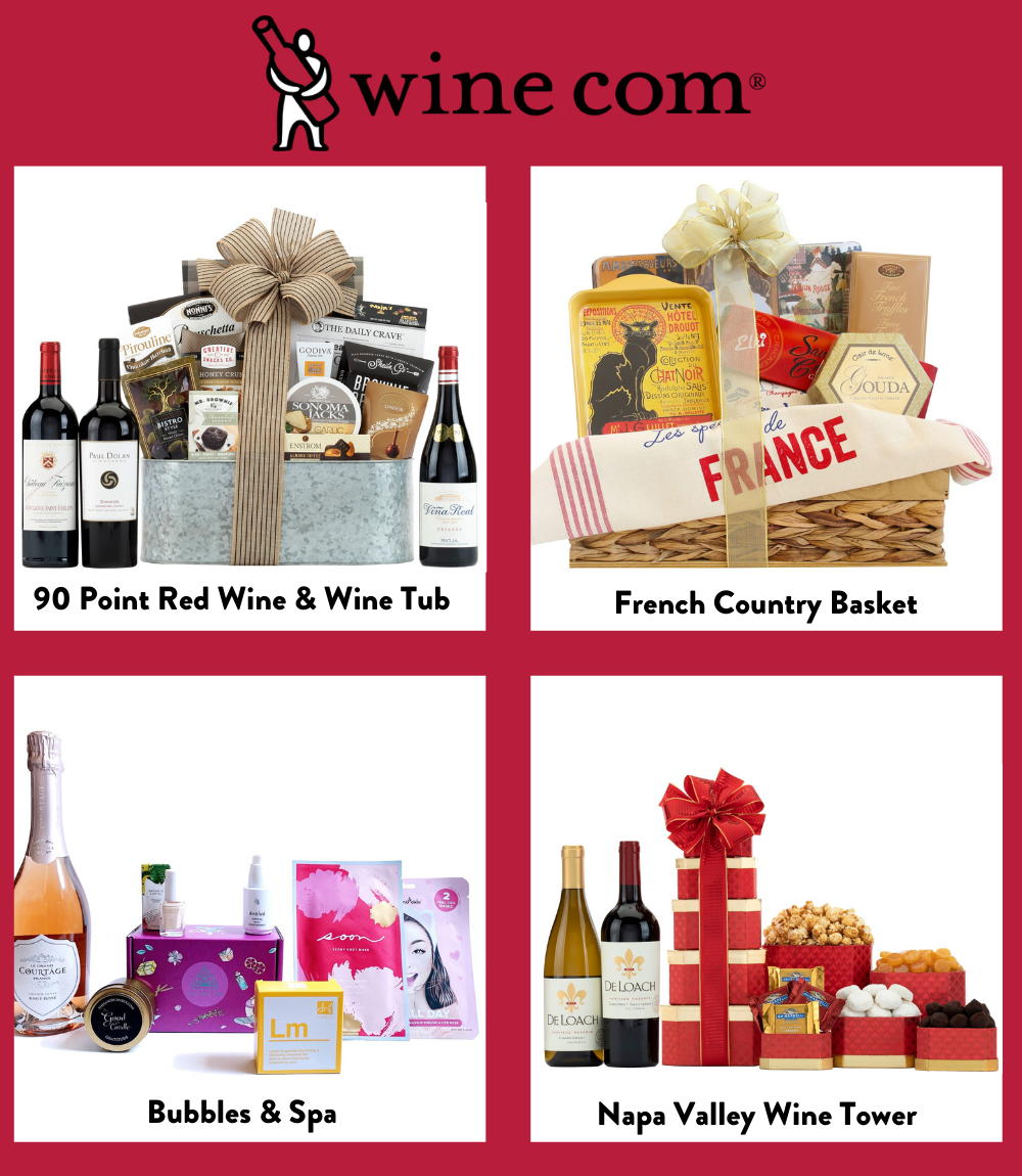 Images of 4 different wine basket gifts from wine.com