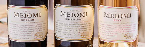 Meiomi Pinot, Chardonnay, and Rose wine bottles