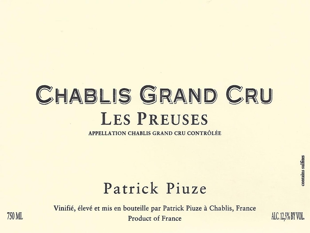 Chablis Grand Cru wine label