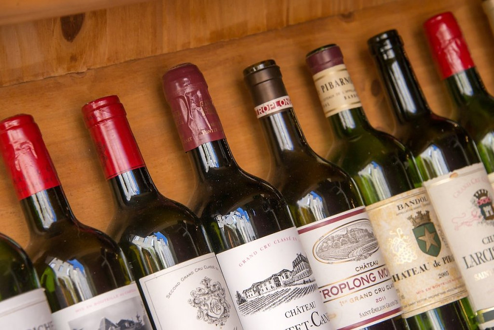 Bottles of Bordeaux wine.