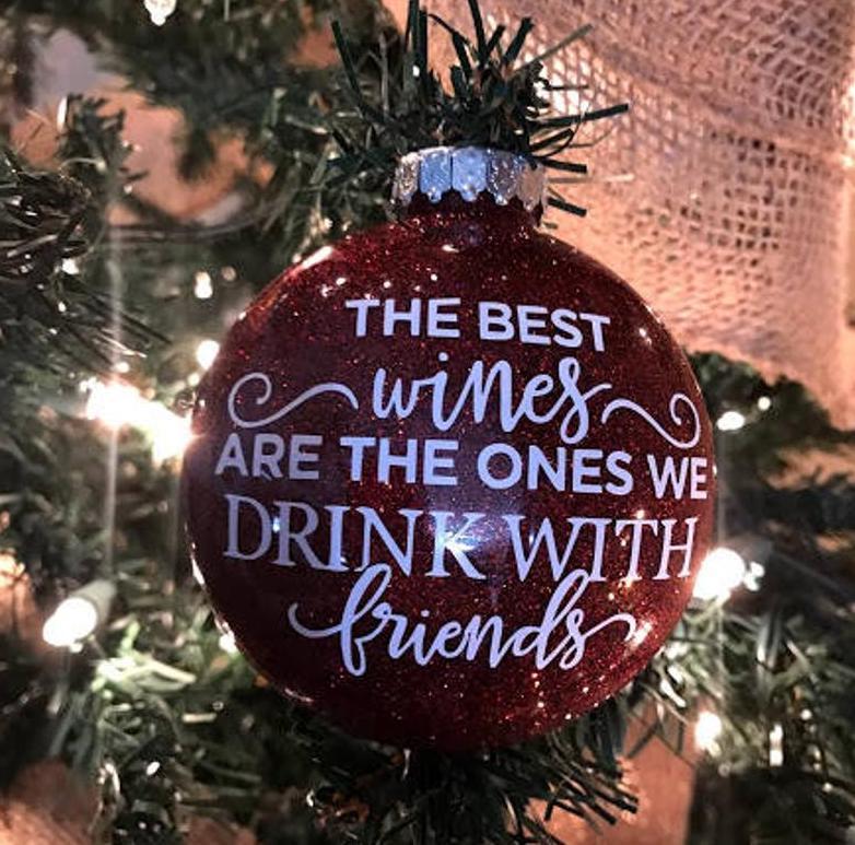 Red Glitter Wine Ornament