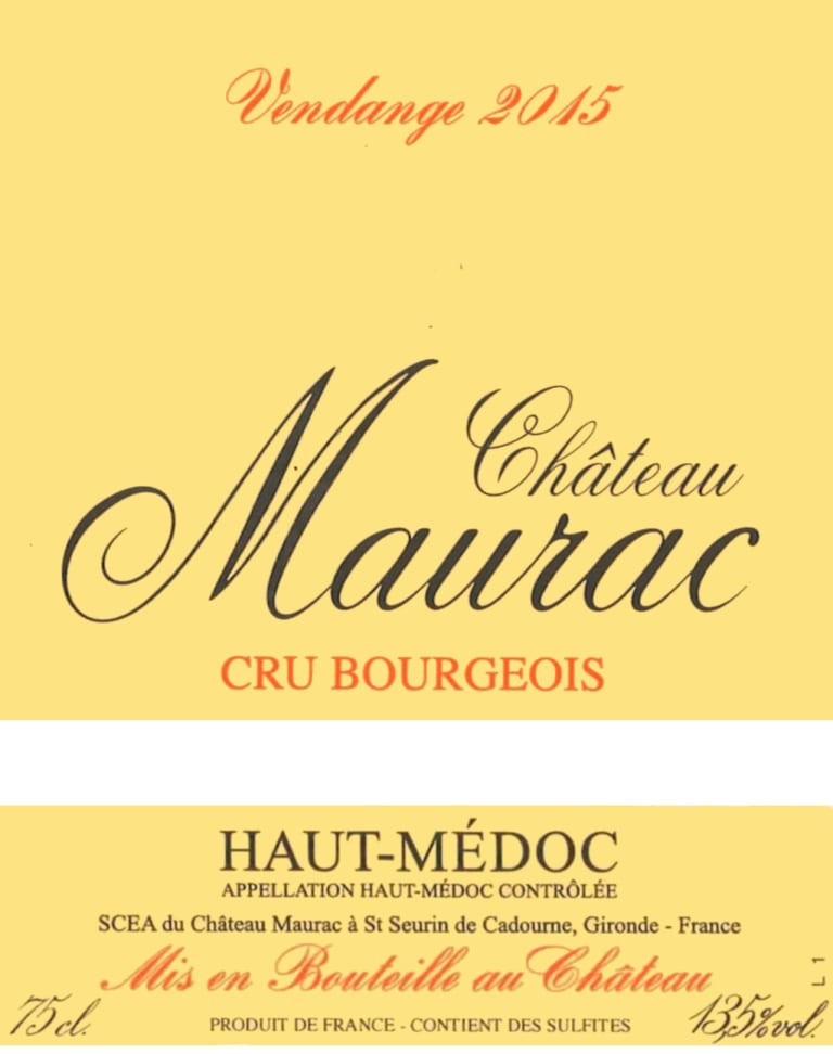 Chateau Maurac 2015 wine label.