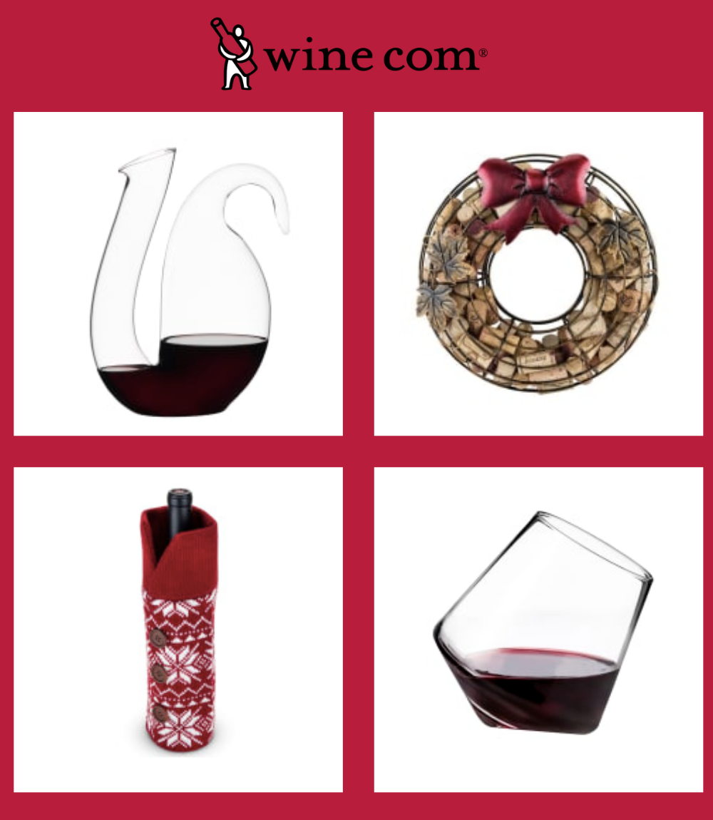 Images of 4 different wine accessories from Wine.com: decanter, wine glass, cork wreath, wine sweater.
