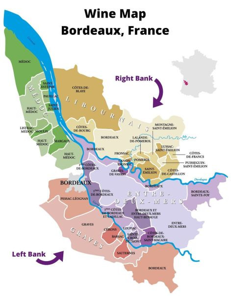 Wine Map of Bordeaux France showing the Right Bank and Left Bank.