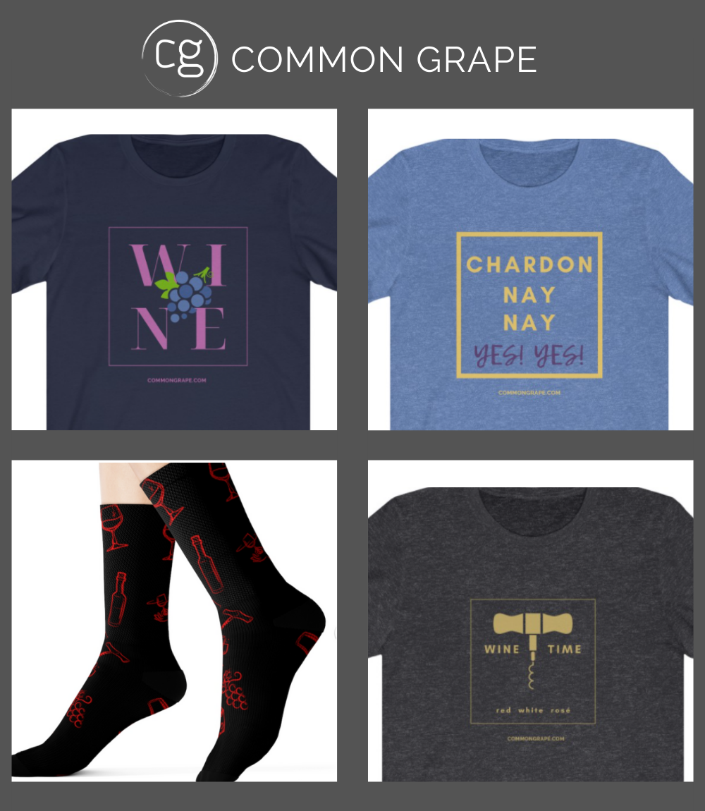 Image of 3 different t-shirts with wine sayings and wine socks from Common Grape.