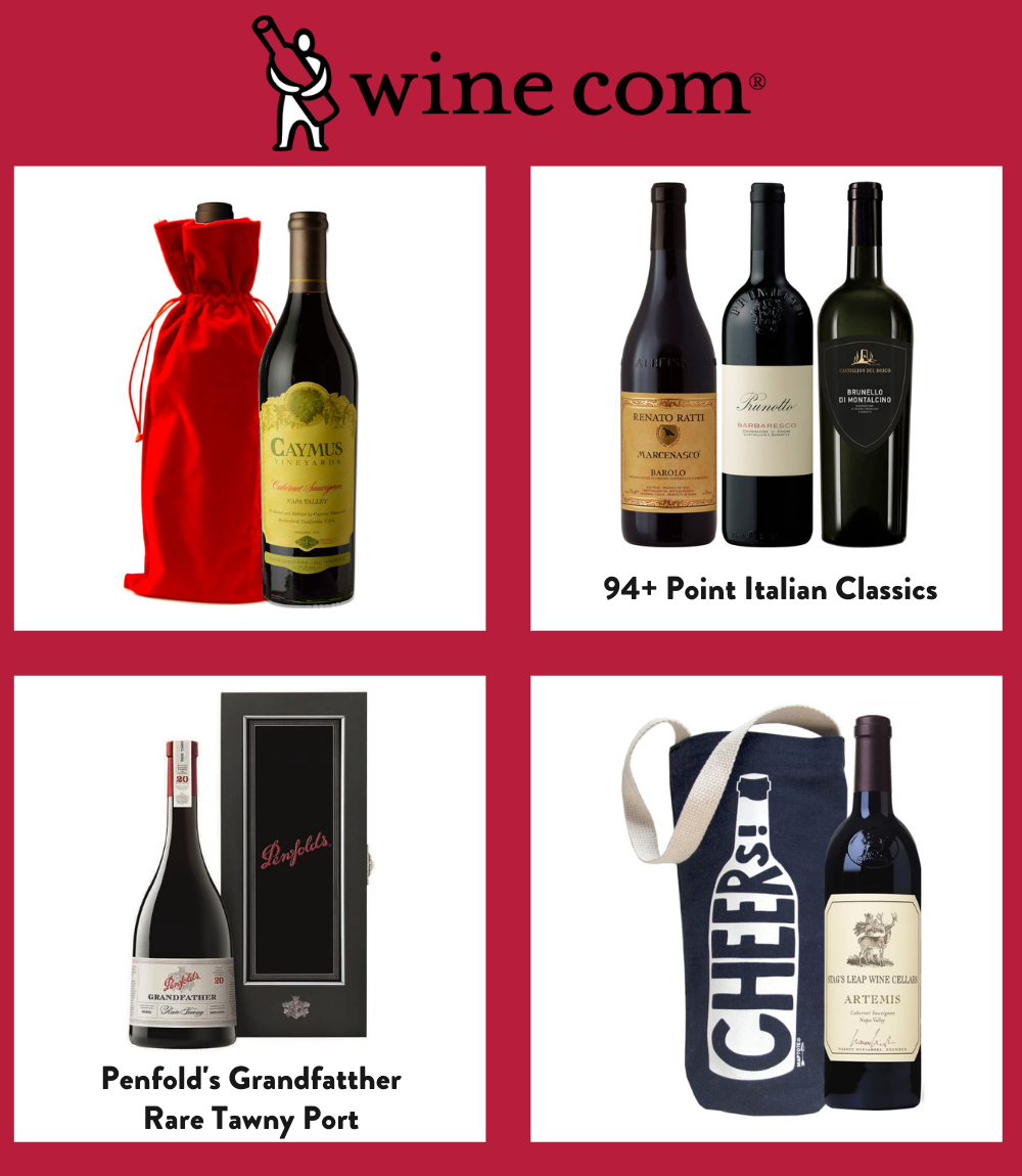 Images of 4 different bottled wine gifts from Wine.com