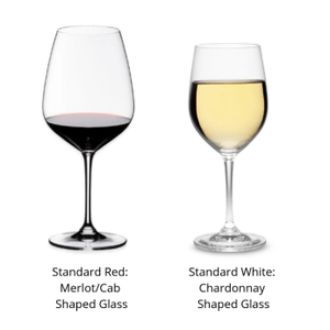 1 white & 1 red wine glass. Universal red glass is the shape of the Merlot/Cabernet Sauvignon glasses. Universal white glass is the shape of the Chardonnay glasses.