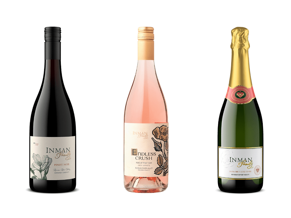 Inman Family Wines: Pinot Noir, Rose, and Champagne.
