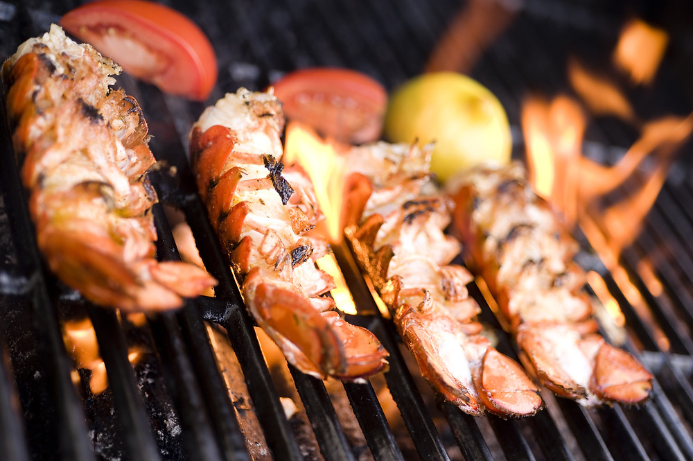 Lobster Tail on the grill.
