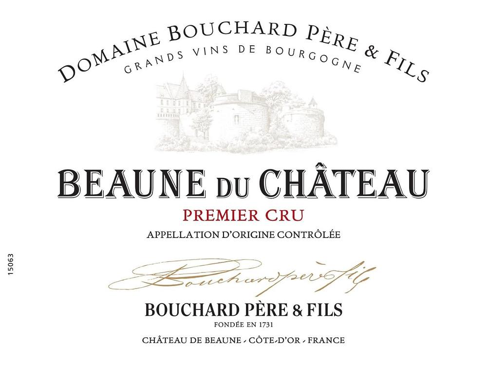 Bouchard Pere & Fils Beaune du Chateau Premier Cru wine label.