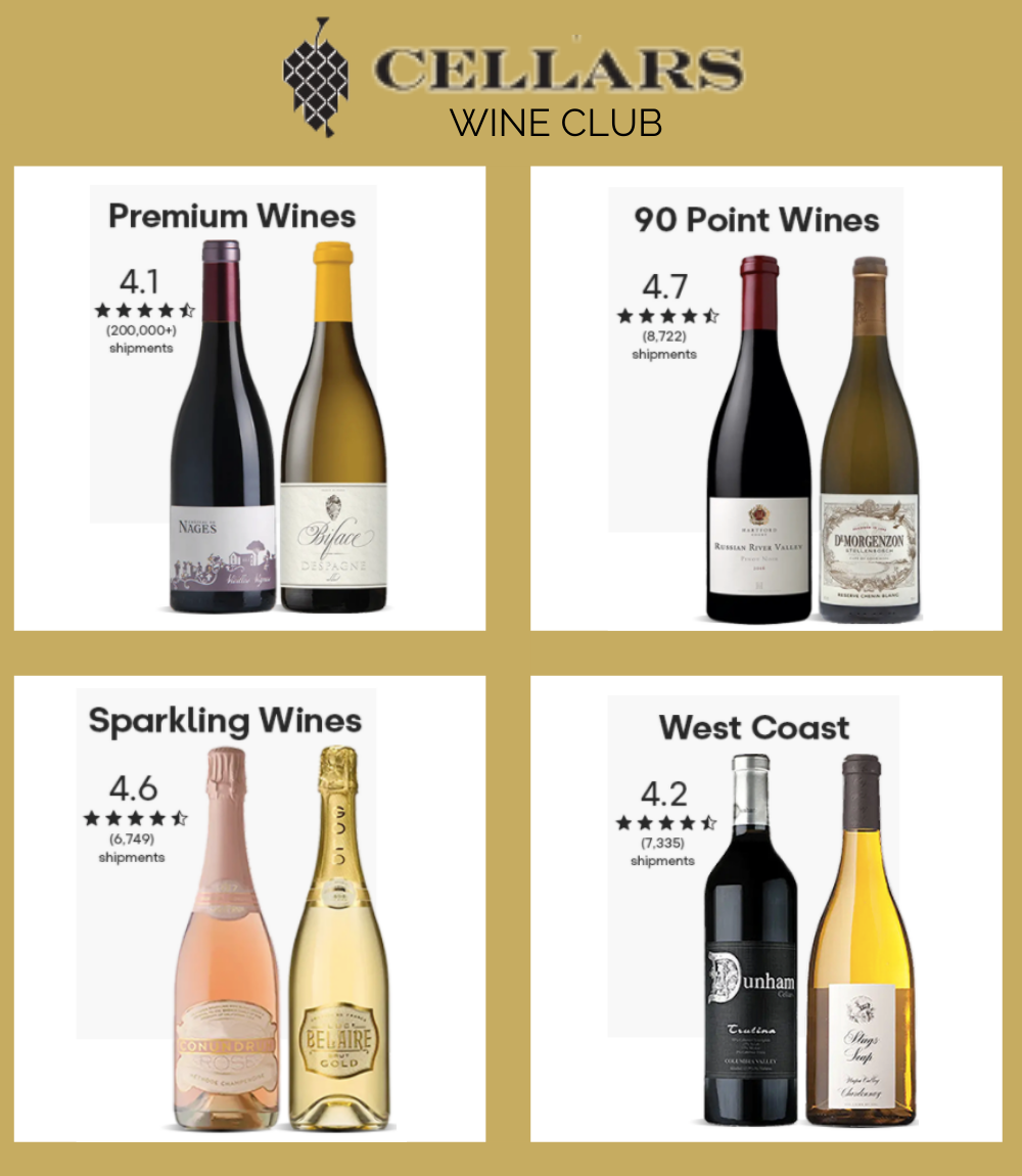Images of 4 different wine clubs from Cellars Wine Club.