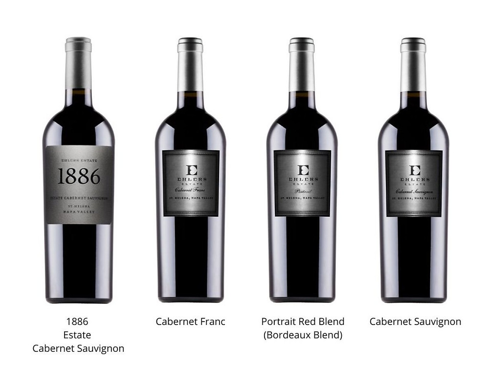 Four bottles of red wine offered by Ehlers: 1886 Estate Cabernet, Cabernet Franc, Red Blend, and Cabernet Sauvignon.