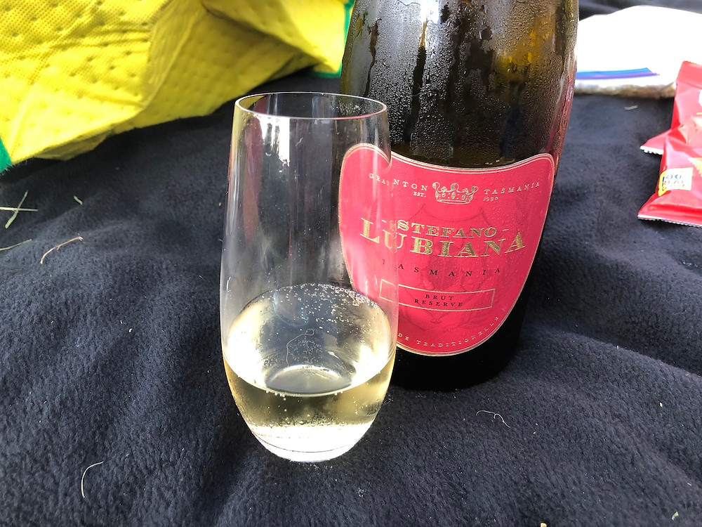 A bottle and glass of Stefano Lubiana sparkling wine from Tasmania
